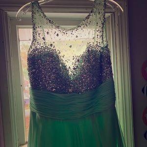 Long Mint Sparkle Dress